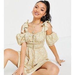 Robe tendance folk à bretelles nouées - citron - Missguided Petite - Modalova