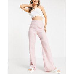 Pantalon taille haute à ourlet fendu - pied-de-poule - NaaNaa - Modalova