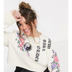 - Sweat-shirt court oversize d'ensemble à imprimé fleuri style gothique - New Girl Order Curve - Modalova