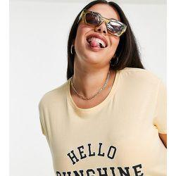 New Look Curve - T-shirt à inscription «Hello Sunshine» - New Look Plus - Modalova