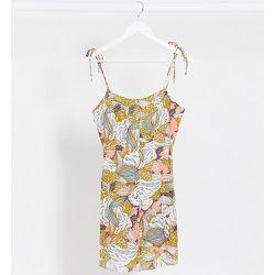 Robe caraco courte imprimé abstrait avec bretelles nouées - Only Petite - Modalova