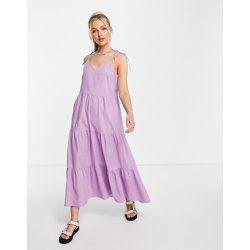 Robe longue en popeline à volants étagés - Lilas - Pieces - Modalova