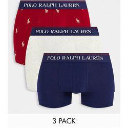 Lot de 3 boxers avec ceinture à inscription logo - Bleu marine/rouge doré avec logo poney/Crème - Polo Ralph Lauren - Modalova