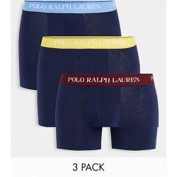 Lot de 3 boxers avec ceinture à logo contrastant bleu/jaune/violet - Bleu - Polo Ralph Lauren - Modalova