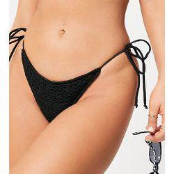 Inspired - Bas de bikini en tissu recyclé au crochet - Noir - Reclaimed Vintage - Modalova