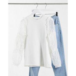 Sweat-shirt à manches bouffantes en tulle fleuri - River Island - Modalova