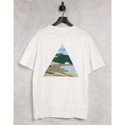 T-shirt ample en coton biologique avec imprimé paysage à motif camouflage au dos - Selected Homme - Modalova