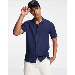 Chemise à col cranté et manches courtes en viscose et lin avec logo signature - Bleu carbone - Tommy Hilfiger - Modalova