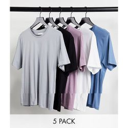 Lot de 5t-shirts classiques - Blanc/noir/gris/rose/bleu - Topman - Modalova