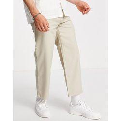 Pantalon large raccourci en sergé - Écru - Topman - Modalova