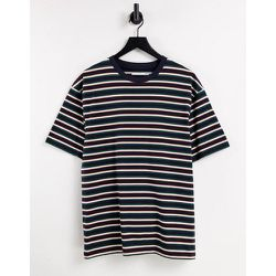 T-shirt oversize à rayures - Vert et orange - Topman - Modalova
