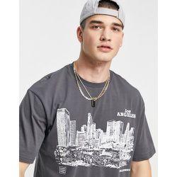 T-shirt oversize avec imprimé croquis de Los Angeles - Topman - Modalova