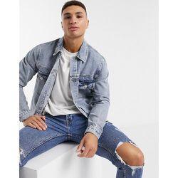Veste en jean en coton biologique à délavage clair - Topman - Modalova