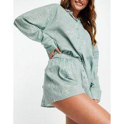 Ensemble de pyjama à imprimé fougère avec chemise et short - Sauge - Topshop - Modalova