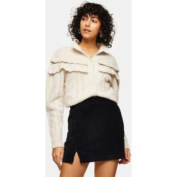 Mini-jupe en velours côtelé avec encoche - Noir - Topshop - Modalova