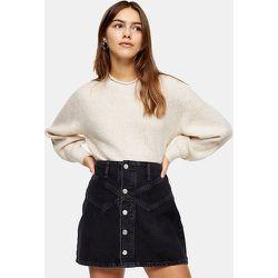 Petite - Jupe en jean boutonnée - délavé - Topshop - Modalova