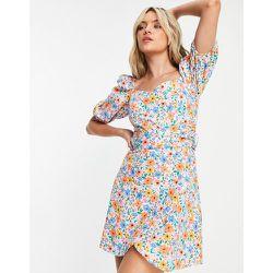 Robe courte cache-cœur en popeline à imprimé floral de couleurs vives - Topshop - Modalova