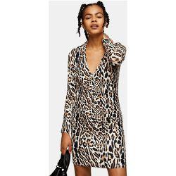 Robe courte froncée sur le devant - Imprimé léopard - Topshop - Modalova