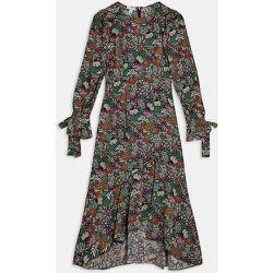 Robe longue à manches longues - Noir imprimé fleurs - Topshop - Modalova
