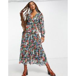 Robe mi-longue tissée avec manches longues et volants - fleuri - Topshop - Modalova