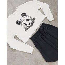 Sweat-shirt court imprimé panda - Crème - Topshop - Modalova