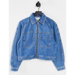 Veste courte en jean coupe carrée avec doublure - moyen - Topshop - Modalova