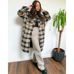 Veste longue en laine à carreaux - Topshop - Modalova