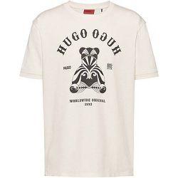 T-shirt Regular Fit en coton avec motif ours et logo artistique - HUGO - Modalova