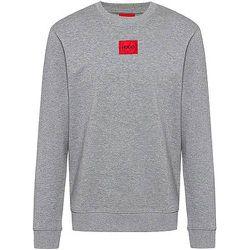Sweat en molleton de coton avec étiquette logo rouge - HUGO - Modalova