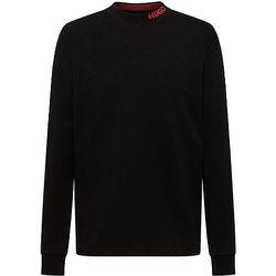 T-shirt à manches longues en coton mercerisé avec col cheminée à logo - HUGO - Modalova