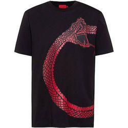 T-shirt en coton biologique à motif serpent artistique - HUGO - Modalova
