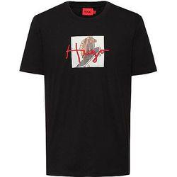 T-shirt en coton à motif animalier et logo manuscrit - HUGO - Modalova