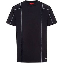 T-shirt à col logo en tissu stretch performant - HUGO - Modalova