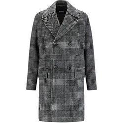 Manteau croisé en laine mélangée à carreaux - Boss - Modalova