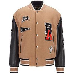Veste style Varsity en laine mélangée avec patchs logo - BOSS X Russell Athletic - Modalova