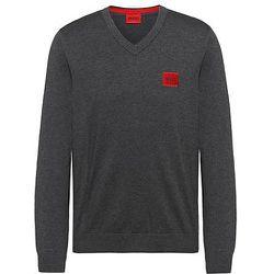 Pull à col V en coton pur avec étiquette logo rouge - HUGO - Modalova