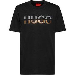 T-shirt en coton mélangé à logo revisité - HUGO - Modalova