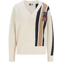 Pull en laine et cachemire à rayures et patch logo exclusif - BOSS X Russell Athletic - Modalova