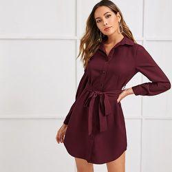 Robe chemise ceinturée - SHEIN - Modalova