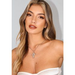 Collier avec Pendentif Croix Oversize Style Cristal Aspect Or - Missguided - Modalova