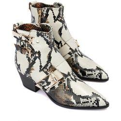 Snake printed leather ankle boots - Baldinini - Modalova