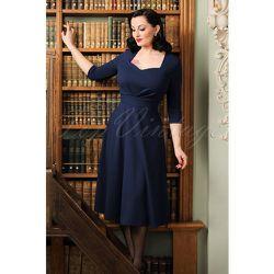 Ruby Swing Dress Années 50 en Navy - vintage chic for topvintage - Modalova