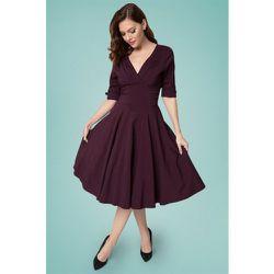 Delores Swing Dress Années 50 en Aubergine - unique vintage - Modalova