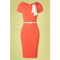 Beverly Pencil Dress Années 50 en Corail - vintage chic for topvintage - Modalova