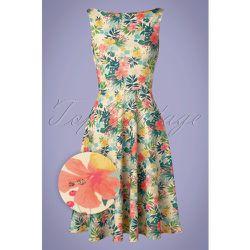 Frederique Floral Swing Dress Années 50 en Ivoire - vintage chic for topvintage - Modalova