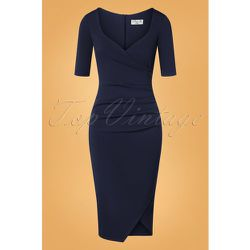 Selene Pencil Dress Années 50 en Marine - vintage chic for topvintage - Modalova