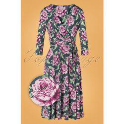 Caryl Floral Swing Dress Années 50 en Gris - vintage chic for topvintage - Modalova