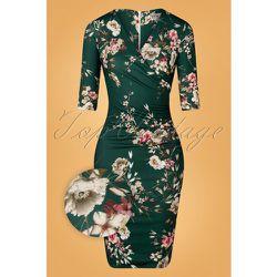 Vera Floral Pencil Dress Années 50 en Foncé - vintage chic for topvintage - Modalova
