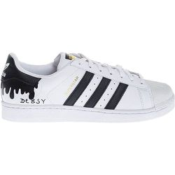 Flowing Black - Leather sneakers with hand painted design 44 - Adidas by Debsy - Modalova