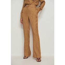 Pantalon évasé jacquard zébré - Brown - NA-KD Trend - Modalova